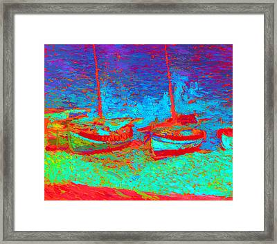 Sailboats In Port Collioure Xii Framed Print by Henri Martin - L Brown