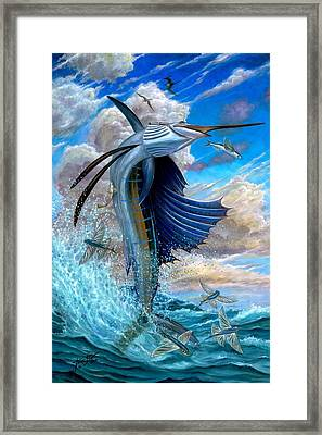 Sailfish And Flying Fish Framed Print by Terry Fox