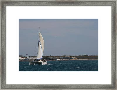 Framed Print featuring the photograph Sailing Across The Water by Phoenix De Vries