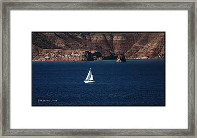 Framed Print featuring the photograph Sailing At Roosevelt Lake On The Blue Water by Tom Janca