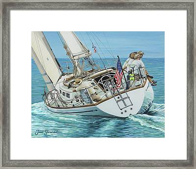 Framed Print featuring the painting Sailing Away by Jane Girardot