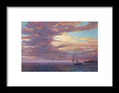 Sailboat Sunset Framed Prints