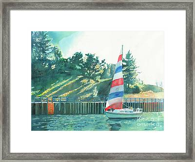 Framed Print featuring the painting Sailing Back To Port by LeAnne Sowa