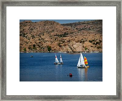 Sailing Below The Granite Dells Framed Print