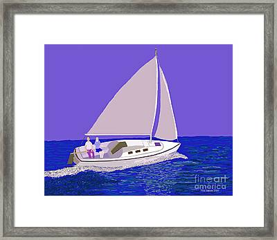 Sailing Blue Ocean Framed Print