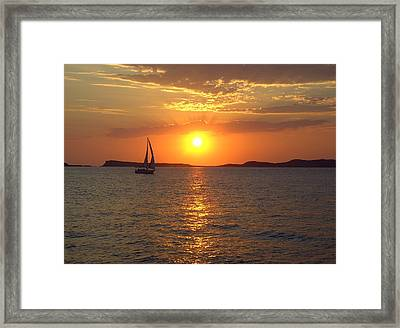 Sailing Boat In Ibiza Sunset Framed Print