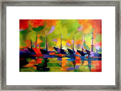Sailing Boats By The River Framed Print by Helena Wierzbicki