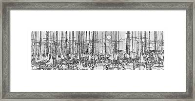 Sailing Boats In Marina With Full Moon Framed Print by Peter v Quenter