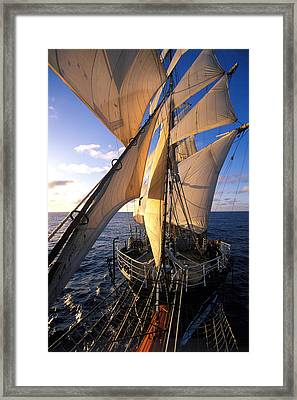Sailing Boats Kruzenshtern Framed Print by Anonymous