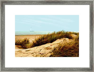 Sailing By Sand Dune Framed Print