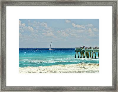 Sailing By The Pier Framed Print by Don Durfee