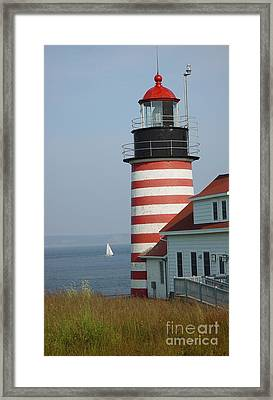 Sailing By West Quoddy Head Framed Print by Christopher Mace