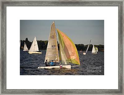 Sailing Dinghy At Stralsund Regatta Germany Framed Print by David Davies