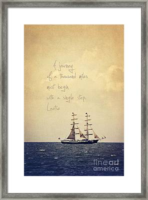 Sailing II With A Quote Framed Print by Angela Doelling AD DESIGN Photo and PhotoArt