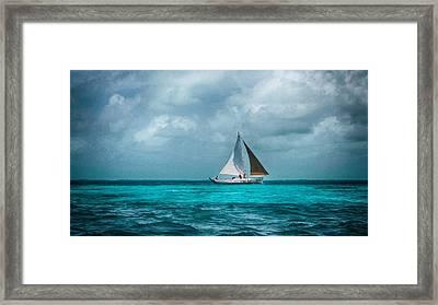 Sailing In Blue Belize Framed Print