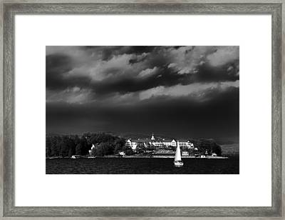 Sailing In Front Of The Sagamore Framed Print by David Patterson