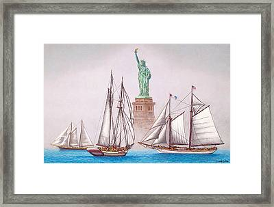 Sailing In Good Company Framed Print by David Linton