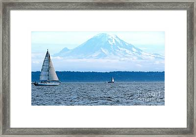 Sailing In Mt. Rainier's Shadow Framed Print