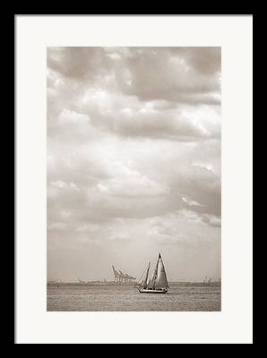 Boats In Harbor Digital Art Framed Prints
