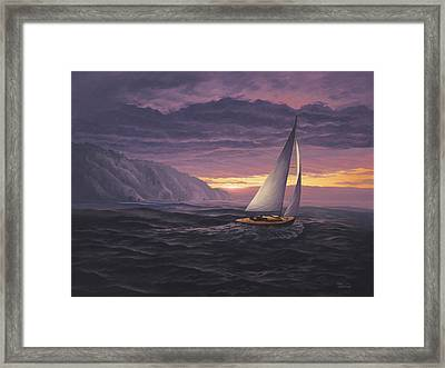 Sailing In Paradise - Big Sur Framed Print