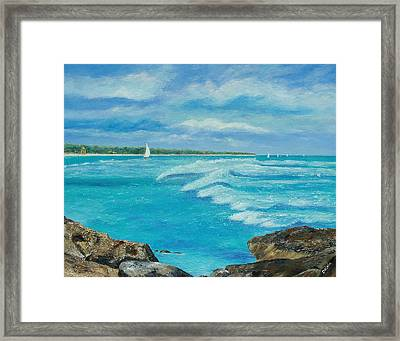 Framed Print featuring the painting Sailing In The Bay by Susan DeLain