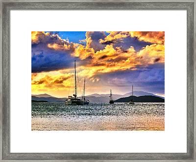 Sailing In The Sunset Framed Print by Emily Eisenberg