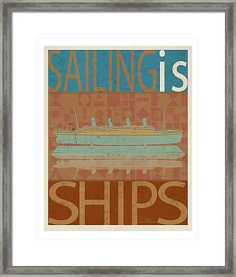 Sailing Is Titanic Model On Brown Framed Print by Joost Hogervorst