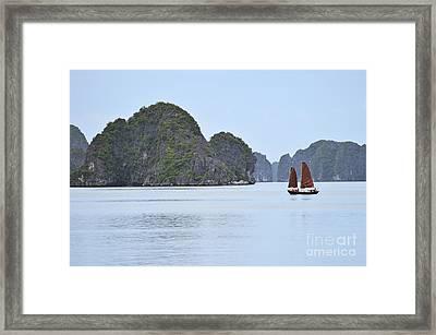 Sailing Junk Boats In Halong Bay Framed Print by Sami Sarkis