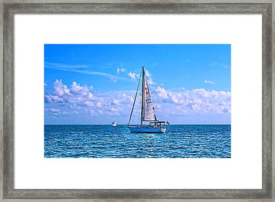 Sailing Off Of Key Largo Framed Print