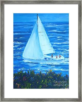 Sailing Off The Coast Framed Print