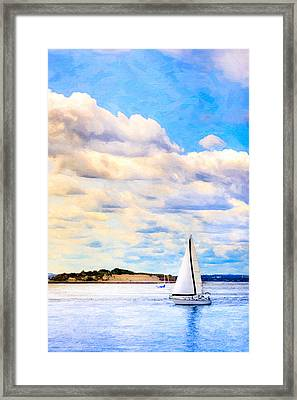 Sailing On A Beautiful Day In Boston Harbor Framed Print
