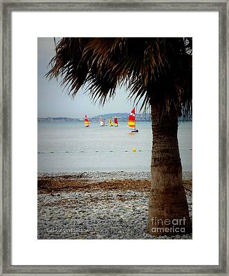 Sailing On A Cloudy Morning Framed Print by Lainie Wrightson