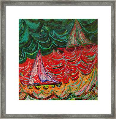 Sailing On Fire Framed Print by Judi Mosby