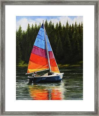 Sailing On Flathead Framed Print by Kim Lockman