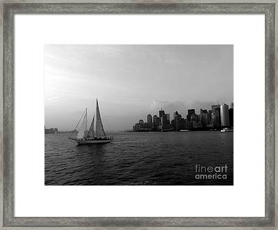 Sailing On The Hudson Framed Print by Avis  Noelle