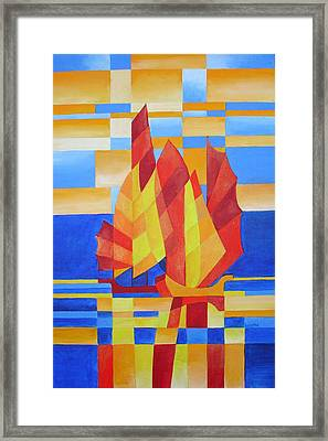Framed Print featuring the painting Sailing On The Seven Seas So Blue by Tracey Harrington-Simpson