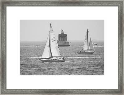 Framed Print featuring the photograph Sailing Past Ledge Light - Black And White by Kirkodd Photography Of New England