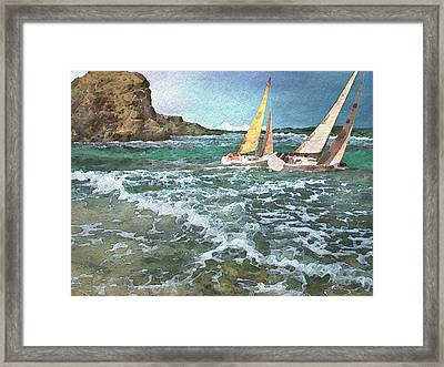 Sailing Past The Rock Framed Print