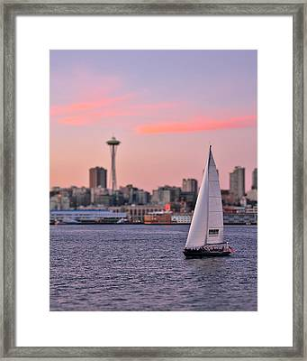 Sailing Puget Sound Framed Print by Adam Romanowicz