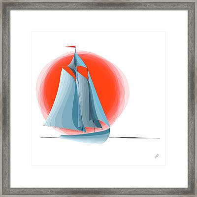 Sailing Red Sun Framed Print by Ben and Raisa Gertsberg
