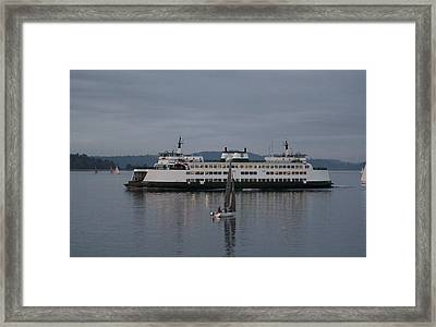 Framed Print featuring the photograph Sailing Regatta And Issaquah Ferry by E Faithe Lester