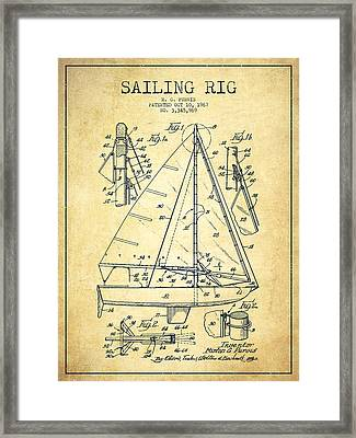 Sailing Rig Patent Drawing From 1967 - Vintage Framed Print by Aged Pixel