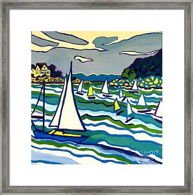 Sailing School Manchester By-the-sea Framed Print by Debra Bretton Robinson