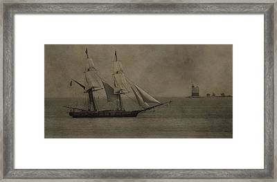 Sailing Ship And Round Island Light Framed Print by Dan Sproul