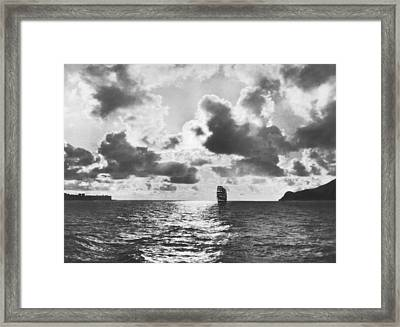 Sailing Ship Enters Sf Bay Framed Print by Underwood Archives