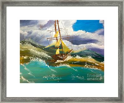 Sailing Ship In A Storm Framed Print by Pamela  Meredith