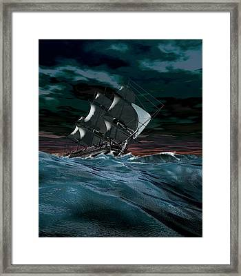 Sailing Ship In Rough Weather Framed Print by Mikkel Juul Jensen