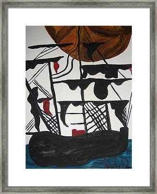 Sailing Ship Framed Print by Judy Dow