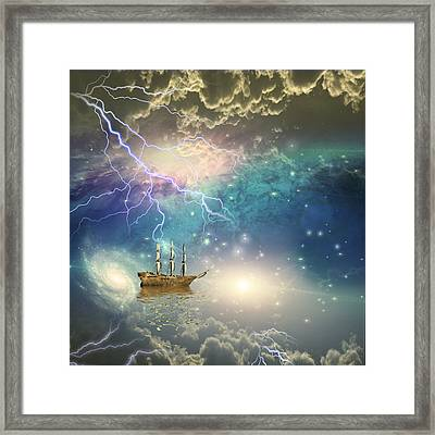 Framed Print featuring the digital art Sailing Ship Sails Through The Stars by Bruce Rolff