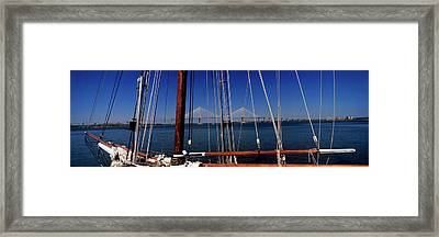 Sailing Ship With Bridge Framed Print by Panoramic Images